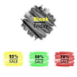 Labels set sale, mega discounts, black Friday, 10%, 25%, 50%, 70%, 80%, 90%. Stock Photography