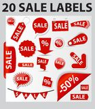 Labels Set 20 Sale. Vector Illustration Stock Photos