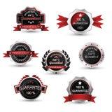 Labels set. Silver guarantee badge,  emblem and symbol. Royalty Free Stock Photography