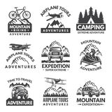 Labels set for travelers club. Vector monochrome pictures royalty free illustration