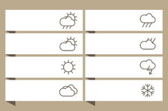 Labels set with weather signs Stock Images