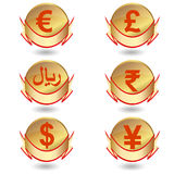 Labels with signs of currencies. Stock Photography