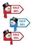 Labels with snowmen Royalty Free Stock Images