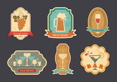 Labels of spirits. Stickers with bar symbols: beer, wine, champagne Stock Photos