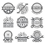 Labels and sport logos set with parts of bicycle. Vector sport bicycle, logo and badge repair bike illustration stock illustration
