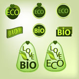 Labels, stickers and emblems  with Eco and Bio tags. Stock Photo