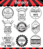 Labels, stickers and logotypes elements for burger Royalty Free Stock Image