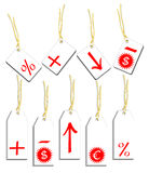 Labels with symbols. Vector illustration that depicts a series of labels with different symbols reported: addition, percentage, dollar and others Stock Photo