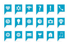 Labels with symbols. 18 blue bubbles on white Royalty Free Stock Images