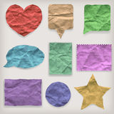 Labels or symbols of colored crumpled paper Royalty Free Stock Image
