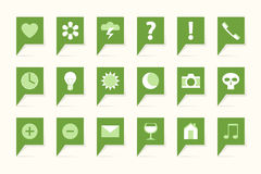 Labels with symbols. 18 green bubbles Royalty Free Stock Image