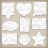 Labels or symbols of white crumpled paper Stock Photo