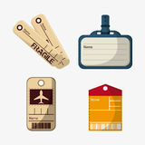 Labels and tags of baggage and luggage concept Stock Image