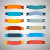 Labels, Tags, Ribbons Set in Retro Colors Stock Photos