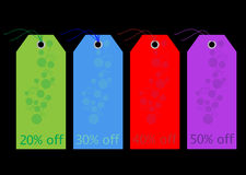 Labels / Tags - Sale / Discount. Set of colorful, luxury retail sale labels, tags for shop products etc on black background, vector stock illustration