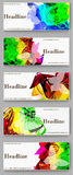 Labels  template set. Advertising banners with paint spots.  Royalty Free Stock Images