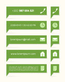 Green labels with text and symbols Royalty Free Stock Image