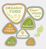 Labels, on the theme of ecology, fresh food, vegetarian, natural, organic Royalty Free Stock Photo