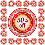 Labels from 5 to 95 percent discount Stock Images