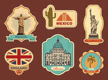 Labels of travel. Stickers of sights of the different countries of the world