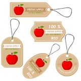 Labels with various fruits,for Apples. And inscriptions. Set templates price tags for shops and markets of organic vegetarian food. Vector illustration Royalty Free Stock Photography