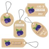 Labels with various fruits,for bilberry Stock Photo