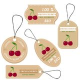 Labels with various fruits,for cherry. And inscriptions. Set templates price tags for shops and markets of organic vegetarian food. Vector illustration Stock Photography