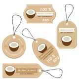 Labels with various fruits,for coconut. And inscriptions. Set templates price tags for shops and markets of organic vegetarian food. Vector illustration Stock Photo