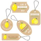 Labels with various fruits,for lemon. And inscriptions. Set templates price tags for shops and markets of organic vegetarian food. Vector illustration Royalty Free Stock Photos