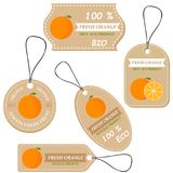 Labels with various fruits,for orange. And inscriptions. Set templates price tags for shops and markets of organic vegetarian food. Vector illustration Royalty Free Stock Photography