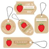 Labels with various fruits,for strawberry. And inscriptions. Set templates price tags for shops and markets of organic vegetarian food. Vector illustration Stock Photography