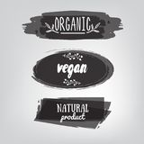 Labels with vegetarian and raw food diet designs. Organic food t Stock Image
