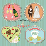 Labels with wedding elements.Vintage Stock Image