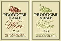 Labels for wine with grapes Stock Image