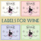 Labels for wine. Set of labels for wine with bunch grapes and barrel Royalty Free Stock Photography