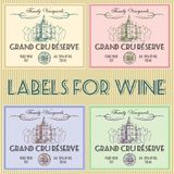 Labels for wine. Set of labels for wine with castle and barrel Royalty Free Stock Photos