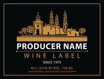 Labels for wine. Vector labels for wine with village with a vineyard in black and gold Royalty Free Stock Photography