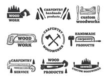 Labels for woodworking shop. Monochrome illustrations with carpentry tools. Vector emblem workshop, logo carpentry handmade Stock Photo