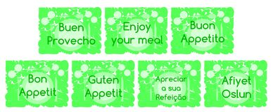 Labels with words enjoy your meal with cutlery Stock Photo
