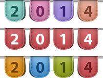 Labels for 2014 year. Made of leather. Vector illustration Vector Illustration