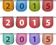 2015 labels. Labels for 2015 year made of leather. Vector illustration Stock Image