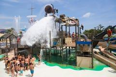 Laberint Pitara在Illa幻想曲waterpark的水吸引力 免版税图库摄影