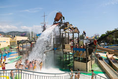 : Laberint Pitara water attraction at Illa Fantasia waterpark Royalty Free Stock Photo