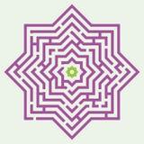 Laberinto bajo la forma de estrella ocho-acentuada ilustración del vector