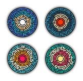 Laberinto coloreado circular, laberinto del vector Fotografía de archivo libre de regalías