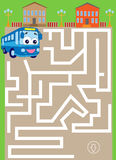 Laberinto con el autobús manera del hallazgo al estacionamiento stock de ilustración