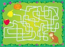Laberinto con el mono, plátanos, calabaza, miel ayude a un mono a guardar el plátano stock de ilustración