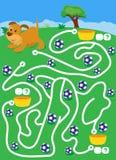Laberinto con el perro y las bolas encuentre la manera donde más ballscount y escriba stock de ilustración