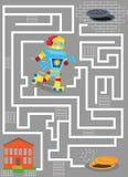Laberinto con el robot en ciudad manera del hallazgo en casa ilustración del vector