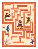 Laberinto con el samurai manera del hallazgo al castillo stock de ilustración